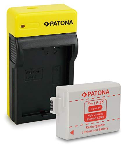 PATONA Batería LP-E5 con Estrecho Cargador Compatible con Canon EOS 1000D, 500D, 450D, Rebel T1i, XS, Xsi