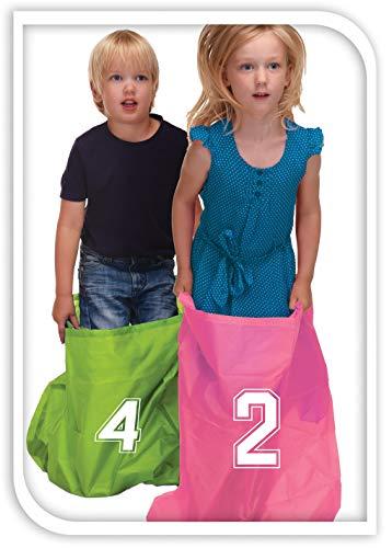 Hüpfsäcke für Kinder im 4er Set inklusive Start Ziel Bänder Nummerierte Hupfsäcke Sackhüpfen Kindergeburtstag Kinder Geburtstag Garten Strand Spaß Spielen Hüpfen Säcke Sportfeste