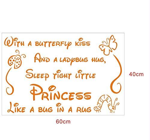 Hanjiming Muursticker Vlinder Kus Lieveheersbeestje Knuffel Quote Art Muurstickers Vinyl Sticker Baby Kamer Decor 40 * 60Cm