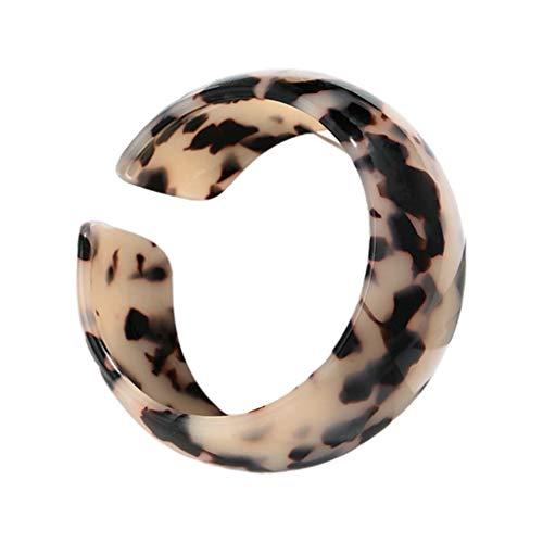 Leiouser - Brazalete de piel de leopardo con placa de acetato y apertura ancha para mujer
