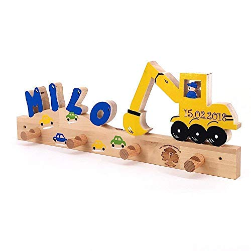 Bagger II - Garderobe mit Name Kinder Holz - Geburtsgeschenk, Geburtstagsgeschenk, Weihnachtsgeschenk