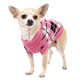 UrbanPup Pink & Black Argyle Knitted Sweater (X-Large - Dog Body Length: 16 inch / 40cm)