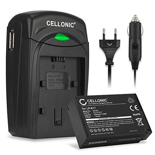 CELLONIC® Batería LP-E17 Compatible con Canon EOS 750D EOS 760D EOS 770D EOS 800D EOS Kiss X8i EOS M3 EOS M5 EOS M6 Mark II EOS Rebel T6i EOS RP Cargador LC-E17 Cable Carga Coche automóvil Repuesto