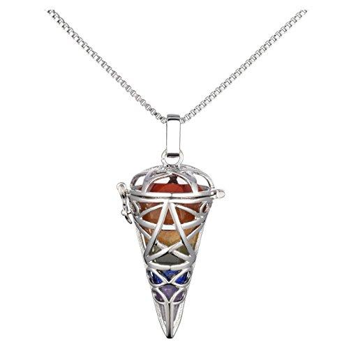 Collar con péndulo de cristal de los 7 chakras en soporte de...