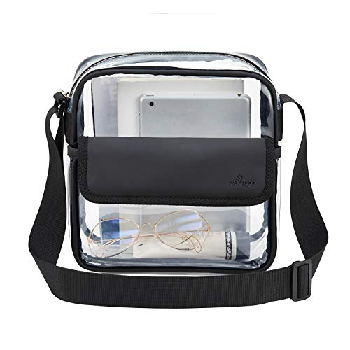 MAY TREE Clear Messenger Bag Cross Body Stadium Approved Transparent Bag See Through Gym Zippered Tote Bag for Concerts Work Sports