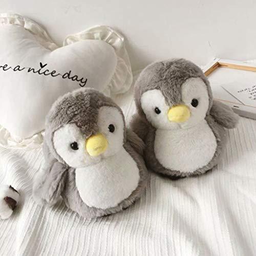 UYT Ein Paar Niedliche Dreidimensionale Pinguin Baumwolle Hausschuhe, Frauen Niedlichen Cartoon Gefüllte Pinguin Tierhaus Hausschuhe Neuheit Gemütliche Flockige Dicke Plüschtier Winter Warme Volle Fuß