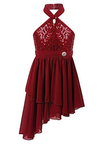 iixpin Vestido Princesa de Baile Latino para Niñas Maillot Lentejuelas de Flamenco Tango Salsa Rumba Disfraz de Bailarina Leotardo Gimnasia Ropa de Bailar Vino 13-14 años