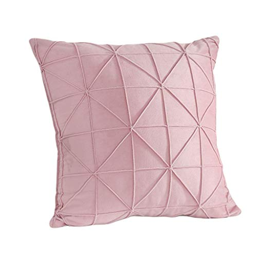 Caja de Almohada de Terciopelo de Acento geométrico Hecho a Mano Bordado de cojín Texturizado leilims (Color : Pink)
