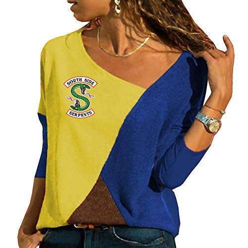 Riverdale Mujer Camisetas de Manga Larga Tshirt Patchwork Blusas Ocasionales Camisa Hipster Túnica Tops Personalizadas
