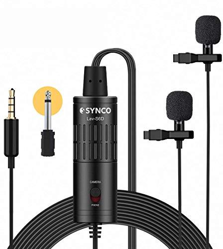 SYNCO Lavalier Mikrofon Doppelkopf, Omnidirectional Kondensator Mic mit Windschutz, Ansteckmikrofon 3.5mm TRS/TRRS 6.3mm für Smartphone iPhone Huawei Samsung, PC, Kamera DSLR Camcorder Lav-S6D