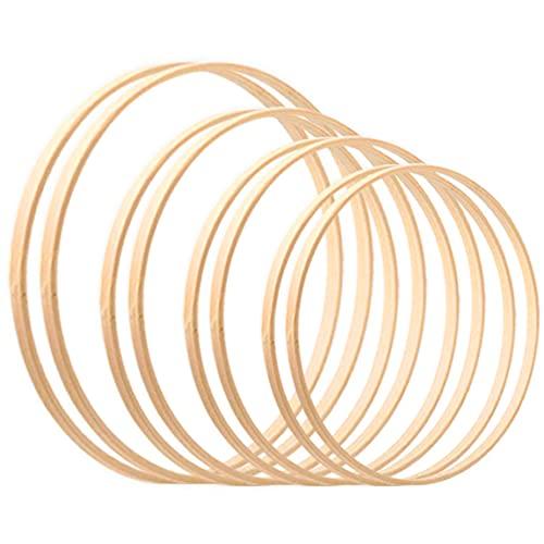 Larcenciel Cerchi di legno Confezione da 8 taglie (5 6 8 e 10 pollici) Anelli a cerchio in legno di bambù floreale in ghirlanda di cerchi in ceramica per acchiappasogni fai-da-te Decorazione