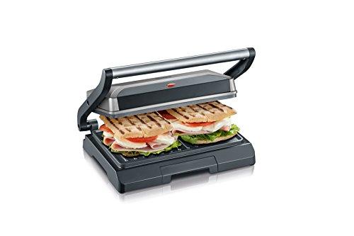 Severin kg 2394 Bistecchiera/Grill/Sandwich-Toaster, Distribuzione Uniforme del Calore, Piastre Antiaderenti, Vassoio Raccolta Liquidi, Design Salvaspazio, 800 W, Acciaio Inox