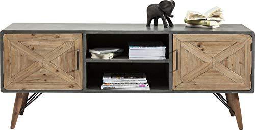 Kare Design TV Board X Factory, modernes Lowboard Möbel im Retro-Look, niedriges Sideboard im Beton-Optik, Grau-Braun (H/B/T) 56x160x40cm