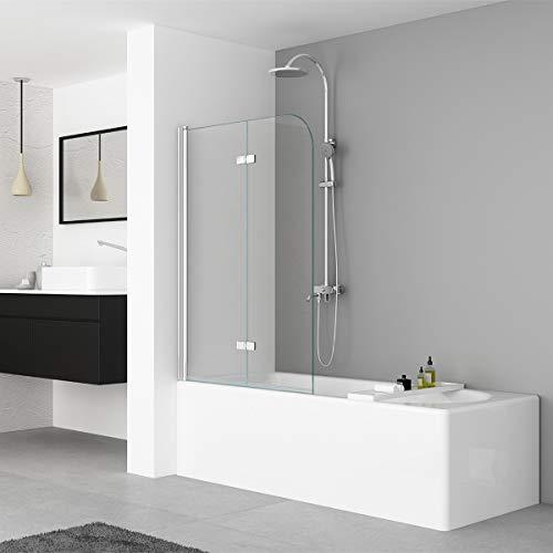 IMPTS Duschwand für Badewanne 110x140cm 2 TLG. Faltwand Aufsatz 180° Duschabtrennung Badewannenaufsatz Badewannenfaltwand aus 6mm Nano Sicherheitsglas