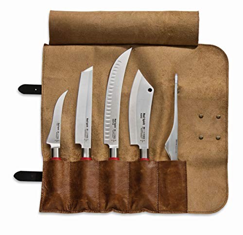 F. DICK Messerset Red Spirit (Rolltasche, Büffelleder, Ausbeinmesser, Tanto, Zerlegemesser, Kochmesser