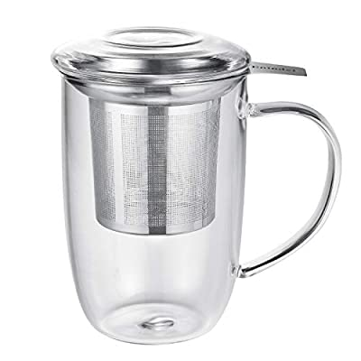 Enindel Glass Tea Mug with Infuser and Lid, Tea Cup, Clear, 18 OZ, GM004