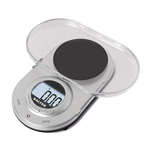 SALTER Cyfrowa Microwaage, zwarta konstrukcja, elektroniczna waga precyzyjna do kuchni, dyskretny design, składana, pasuje do każdej kieszeni, bardzo dokładnie do 0,05 g, srebrna