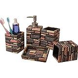 JESSIEKERVIN YY3 Conjunto de accesorios de baño de resina de 5 piezas Conjunto de accesorios de baño de estilo rústico estadounidense Set de baño Botellas de loción, portacepillos de dientes, taza par