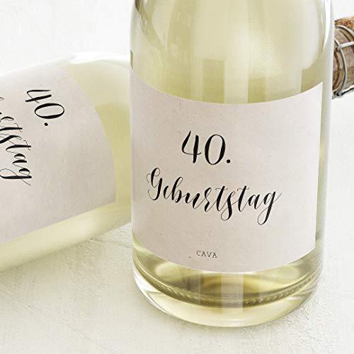 sendmoments Etiketten für Flaschen, Prost, Sticker, selbstklebend, praktisch, individuell mit Wunschtext zum Geburtstag, für Sektflaschen, als Tischdekoration, Querformat, ab 10 Stück