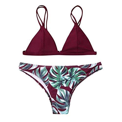 Overdose Bikini Set Damen Push-Up Gepolstert BH und Bikinihosen mit Blatt Pattern Strand Swimsuit Beachwear Swimwear Bademode Badeanzug (T-Wine, M)