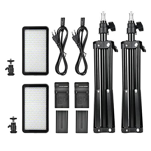 FECAMOS Luz de Video LED con Puntos de luz más Uniformes, para fotografiar con Orificio de Tornillo de 1/4(European Standard 100-240V, Transparency)