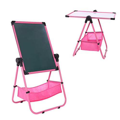 Makkalen Adjustable Art Easel Whiteboard&Chalkboard Double Sided Stand for Kids(Pink)