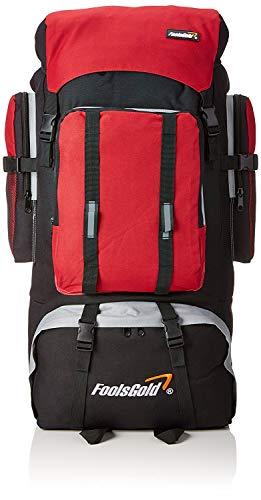 Foolsgold Extra große Trekkingrucksack Wanderrucksack mit doppeltem Zugang -Rot