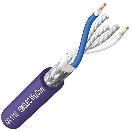 Emelec VíasCom Q3-1110 – 100 m cable audio digital AES/EBU y DMX (2x0.35mm²/6.30mm, OFC, PVC UL no propagador de la llama). Color azul noche. Presentación en bobina.
