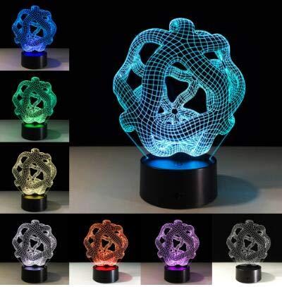 Kreative 3D Illusion Tischlampe LED Nachtlicht Abstrakte Röhre Geometrische Grafiken Acryl Neuheit Dekoration