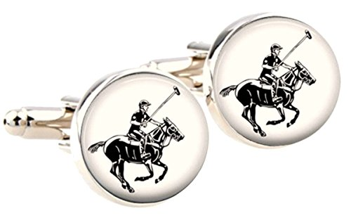 Bassin and Brown White/Black Round Horse Polo boutons de manchette de