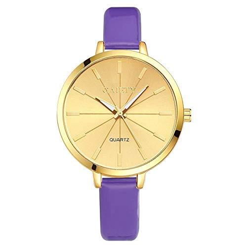 GAIETY Reloj de cuarzo para mujer Reloj de pulsera analógico con correa de PU con esfera redonda dorada de lujo