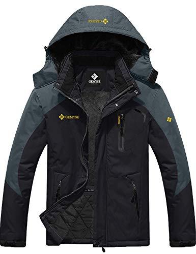 GEMYSE Men's Mountain Waterproof Ski Snow Jacket Winter Windproof Rain Jacket (Black Grey,X-Large)