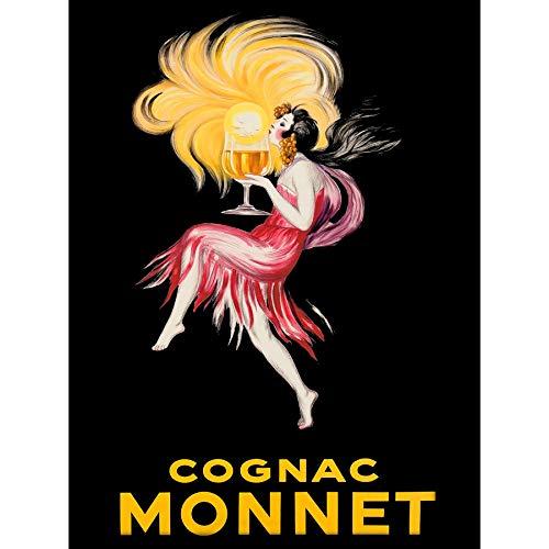 Wee blauwe Coo Cognac Brandy meisje rode jurk ingelijst muur kunst afdrukken 18X24 In