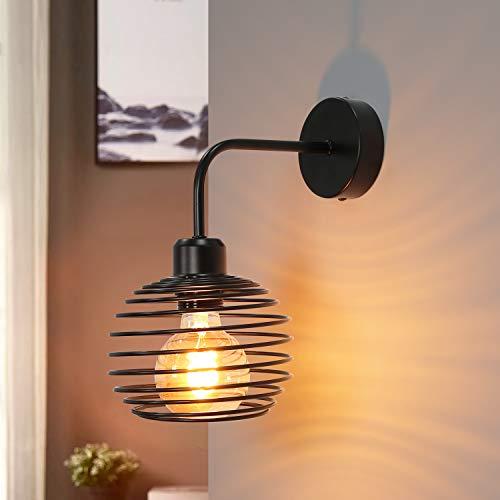 lampada muro vintage ZMH lampada da parete nero lampada a muro vintage - applique in spirale ferro battuto interni E27 illuminazione da parete industriale per soggiorno camera da letto e cucina