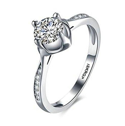 Aeici Silber Ring für Damen Modestil Runden Form Intarsien Cz Hochzeitsring Größe 52 (16.6)