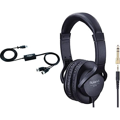 Roland um-one mk2 interfaz midi de una entrada/una salida con procesamiento de alto rendimiento fpt + rh-5 auriculares para dj (tipo cerrado), color negro