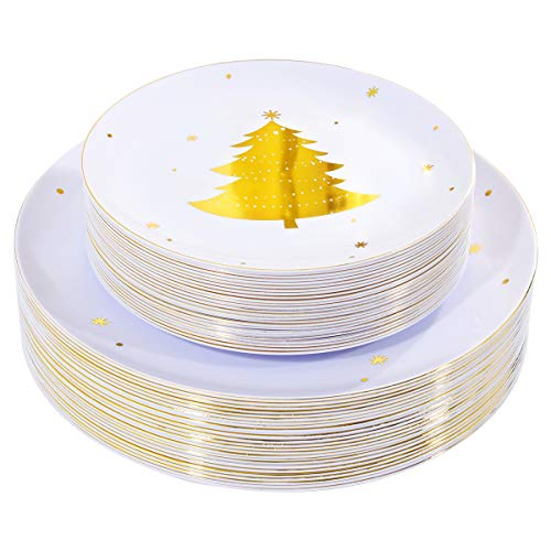 WDF 50Pieces Gold Plastic Plates-Christmas Tree Plastic Plates-Heavyweight White and Gold Disposable Plates for Christmas