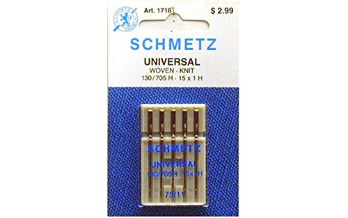 25 Schmetz Universal Sewing Machine Needles 130/705H 15x1H Size 75/11
