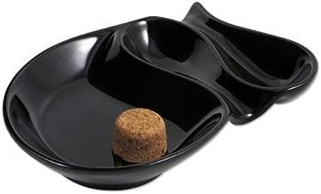Pfeifen-Aschenbecher Pipe Ashtray Ceramic Black Round with 2/Shelves