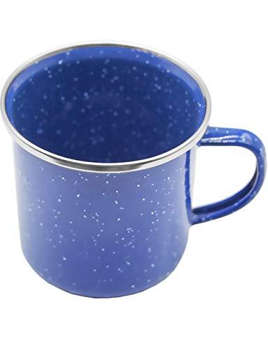 Outdoor Saxx® - Emaille-Tasse, Outdoor Becher, Camping-Tasse, Kaffee-Tasse, Metall-Becher, klassisches, formschönes Design, blau mit weißen Punkten, 300 ml