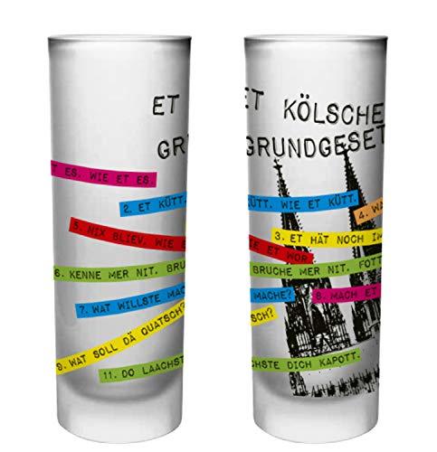 Köln Schnapsgläser | 6er Set | Gläser mit Gravur vom Kölschen Grundgesetz in bunt | Pinnchen bzw. Shotgläser für z.B Obstler, Tequila und Wodka. | Glas 6,5cl | Spülmaschinenfest | MADE IN GERMANY