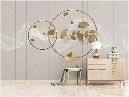 Fototapete 3D Effekt Tapete Geometrisches Kunstmuster Des Klassischen Ginkgoblattes Zen-Rauch 400X280Cm Fototapete Vlies Tapeten Wand Wallpaper Dekoration