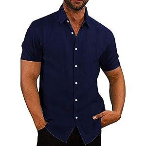 COOFANDY Men's Casual Linen Button Down Shirt Business Chambray Dress Shirt