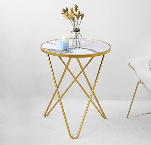 YWXCJ Tavolini da caffè Mesa de Centro Redonda de Hierro Forjado de Metal nórdico Simple pequeño apartamento Sala de Estar sofá Mesa pequeña Mesa de mármol tavolini di piccole dimensioni (Color : B)