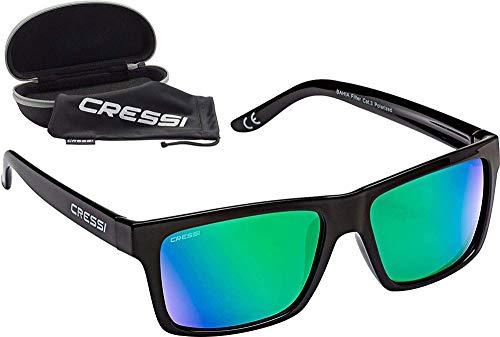 Cressi Bahia Flotantes Sunglasses Gafas De Sol Deportivo, Unisex adulto, Negro/Verde Lentes espejados
