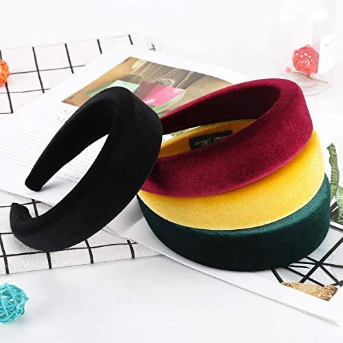 Harte Stirnbänder, Makone 4 Stück Velvet Sponge Hairbands -Padded Headbands Haarschmuck für Frauen (Gelb)