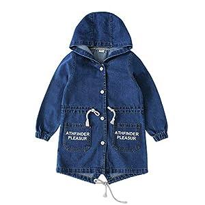 Kids' Hooded Denim Trench Coat 2 Colors for 2-12