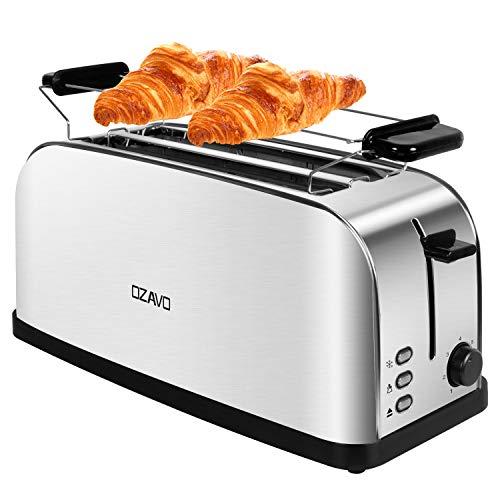 OZAVO Automatik Toaster Langschlitz, Toaster 4 Scheiben, 7 einstellbare Bräunungsstufen + Auftau- & Aufwärmfunktion, integrierter Brötchenaufsatz, herausziehbare Krümelschublade - Edelstahl