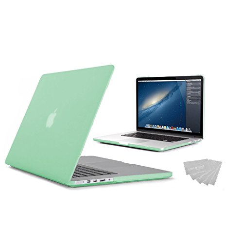 Duck 15-Inch Rubberized Touch Hardshell Case Cover for MacBook Pro 15.4' with Retina Display(A1398)-(NEWEST VERSION) with Keyboard Cover & 5x Love My Case Cleaning Cloth- Green