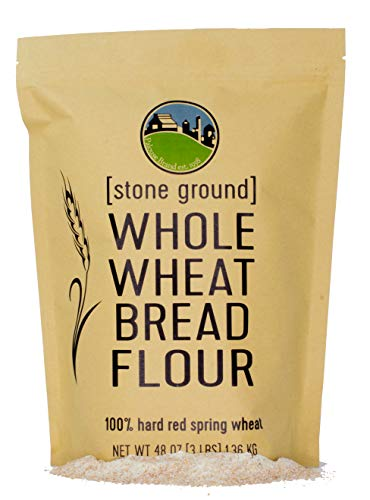 Hard Red Spring Whole Wheat Flour • Bread Flour • Non-GMO • 3 LBS • 100% Non-Irradiated • Kosher • USA Grown • Field Traced • Resealable Kraft Bag